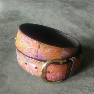 Fossil Leather Tooled & Embroidered Flower Belt S